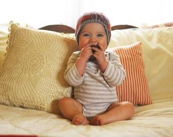 Reversible baby bonnet style cap size 3-6 months