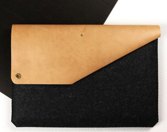 "Sleeve for 15"" MacBook Pro of leather & felt [BL]"