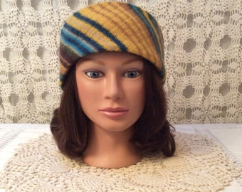 Wool headband-Beautiful upcycled-recycled gold striped felted wool headband ear warmer-made from sweaters