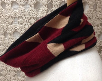 100% Cashmere scarf-Beautiful upcycled-recycled felted patterned burgundy cashmere cowl neck scarf-made from sweaters