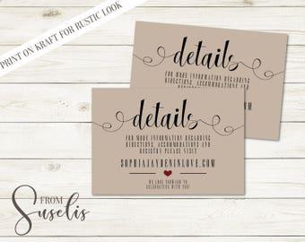 Wedding Details Cards, Details Printable, Vintage Invitation, Rustic Printable Details card, DIGITAL FILES, WS14