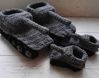 Father son tank slippers , Crochet tank slippers,, dad son ,daddy baby, husband , panzer tank shoes, tiger 1 tank slippers,for him