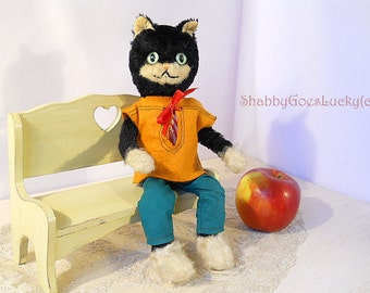 Schuco Bigo Bello cat 1950s German vintage black tom cat in sailors clothes with wired bendable limbs, 11 inches tall