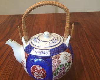 Vintage Hand-Painted CERAMIC ASIAN TEAPOT with Wicker Handle and Gold Trim
