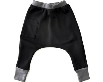 Baby Boy Leggings - Baby Boy Clothes, Baby Boy Harem Pants, Baby Harem Pants, Baby Boy Joggers, Baby Skinny Joggers - Black, Free Shipping