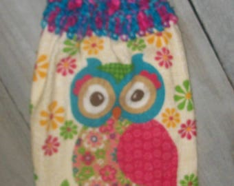 Crochet Top Hanging Kitchen Fridge Printed Dishtowel Owl Hot Pink Turquoise Lime Green Flowers Retro *No Button/Button* Handmade by HCF&D