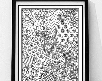 Hearts Coloring Page. Love Coloring Page, Adult Coloring Page, Printable Wall Art, Gift for Women