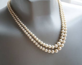 Double Strand Pearl Necklace,Classic Faux Pearl Necklace,Vintage Knotted Pearl Beads,Bridal Necklace,June Wedding or Birthstone Jewelry