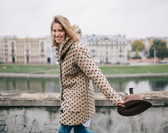 Wool coat, Brown coat, Wool coat women, Hooded coat, Winter coat, Polkadot coat, Coat with pockets, Coat with buttons