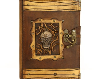 Human Skull Brown Large Leather Handmade Journal Diary Notebook Plain Paper Book