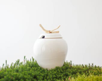 Sweet white jar with a twig handle and a hole for spoon/ ceramic vessel/ lidded jar/ white/ ceramic vessel/ ceramic container/ sugar jar