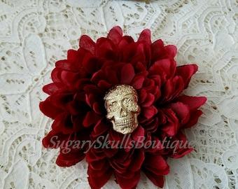 Sugar Skull Hair Flower, Halloween Costume, Day of the Dead, Book of Life Movie Inspired, Red Wedding Accessory, Dia de los Muertos, Dahlia