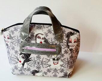 Ready to Ship - Lola Domed Villians Handbag with Slate Glitter Vinyl - Glitter Vinyl Handbag - Evil Women Handbag - Purple Handbag