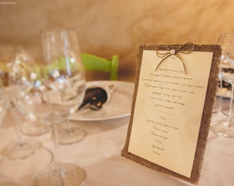 Rustic Menu Card, Burlap Wedding, Country Style Wedding, Rustic Table Decoration, Barn Wedding, Wedding Table, Twine And Pearl, Shabby Chic