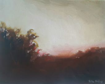 Warm Dawn- Sky at Sunrise- Abstract Impressionist Landscape Oil Painting- Pacific Northwest Washington Art- Small Minimalist Painting