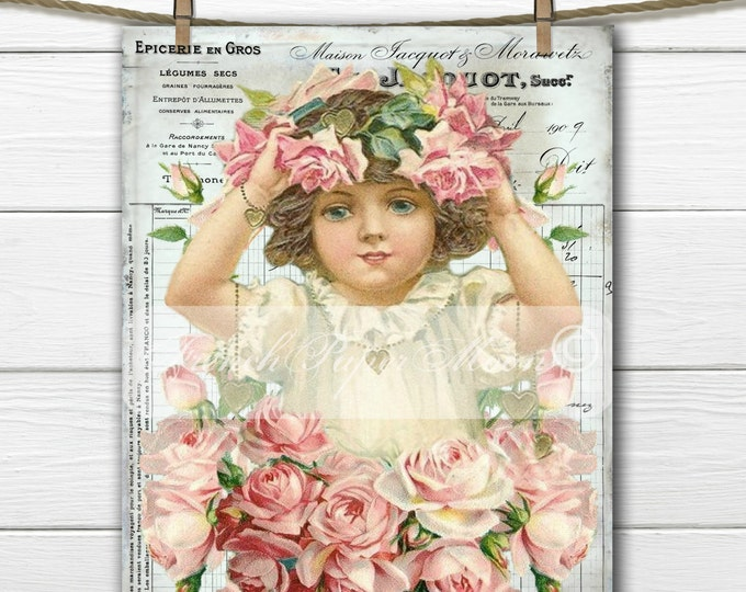 Shabby Digital Victorian Girl with Roses, Valentine Girl, French Valentine Transfer Image, Digital Pillow Graphic