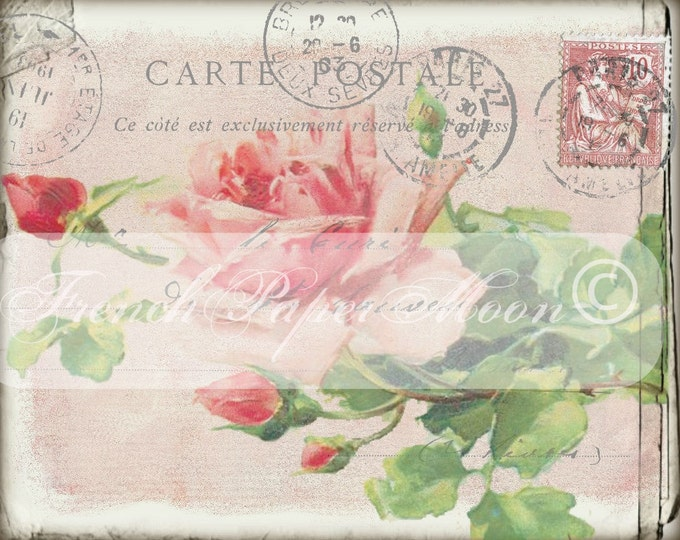 Shabby French Rose Carte Postale, Shabby Digital Postcard, French Pillow Image Graphic Transfer