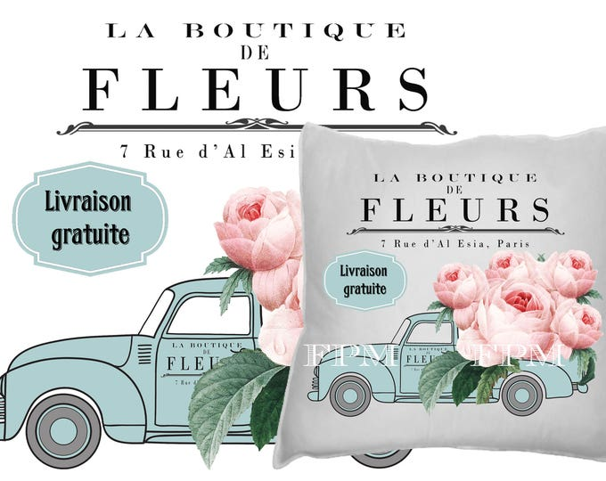 Vintage Digital Flower Truck, Shabby Chic roses, French Farmhouse, Delivery Truck, Iron On Fabric, Large Image