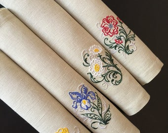 Juego de manteles individuales de lino de 6 mano bordado - Manteles de lino ...