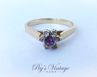 "Vintage Gold tone Purple Amethyst Ring, Rhinestone Ring, Size 6 1/2"" Ring"