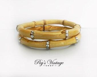 Vintage Bamboo Bangle Bracelets, Set Of Two Bangles with Rhinestones