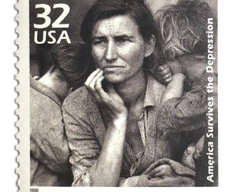 5 Unused Vintage Dorothea Lange Postage Stamps // Migrant Mother Great Depression Photograph // Postage for Art or Mailing