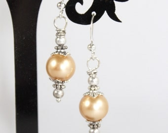 Light Brown Beige Glass Pearl Dangle Earrings with Metal Findings and Beautiful Silver Leafy Caps on Silver Nickel Free Earwires