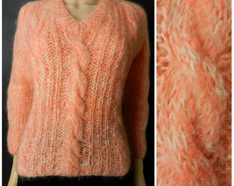 60's  MOHAIR wool Italian Knit fuzzy coral peach cable knit v neck jumper sweater u.k. 12 - 14 M