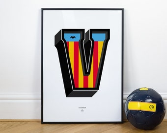 V is for Valencia, Football Typography Print