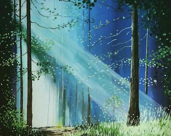 Restoration forest landscape print by Pamela Henry greens blues inspiring nature wall art