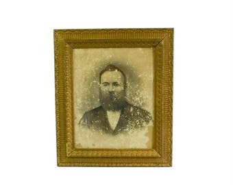 Antique Man's Portrait Under Wavy Glass in Wood and Gesso Frame, PA Estate Find