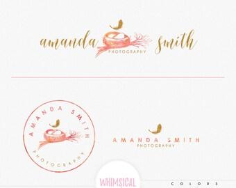 Sketchy Nest -Watercolor Logo Design Branding Package Inc. feminine Logo children boutique - Photographer package Script Watercolor Logo