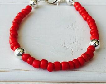 Red Beaded Bracelet, Fourth of July Bracelets, Independence Day Bracelet, Statement Bracelet, Beach Bracelet, Bright Bracelet, Red Jewelry