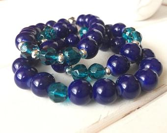 Blue bracelet set,  Blue beaded bracelet set, Blue stack bracelet, Blue Jewelry set, Blue earrings, Navy blue bracelet