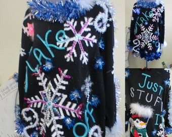 Festive Frock Tacky Ugly Christmas Sweater Hodge Podge of