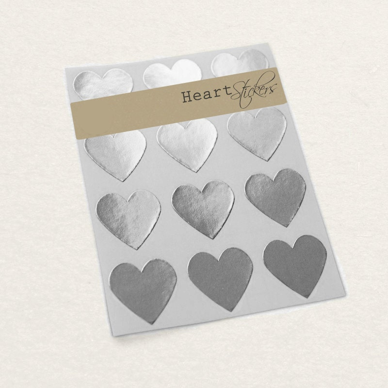 Silver Heart Sticker Wedding Invitation Seal Envelope Seal