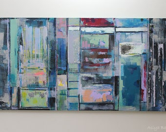 "Busy 48 x 24"" Horizontal art Acrylic and Mix Media. Free Shipping"