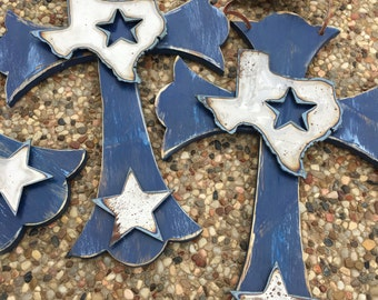 Dallas Cowboy Cross State of Texas Dallas Cowboys Inspired Star Perfect Gift Whitewash Navy, Brown or Black!
