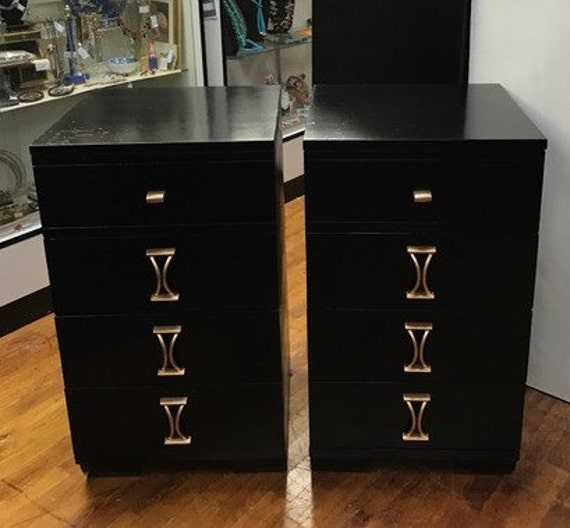 Pair Black nightstands Mid Century Modern four drawer
