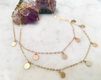 5 DISC NECKLACE, Gold disc necklace, gold choker, choker, disc necklace, gold filled chain, coin necklace, gifts for her, dainty necklace