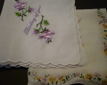 "Handkerchiefs. 2 VINTAGE HANDKERCHIEFS. Embroidered ""Thinking Of You"" Handkerchief and Vintage Yellow Floral Handkerchief."