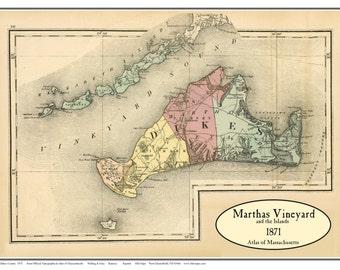 Martha's Vineyard 1871 Map  - Walling and Gray Atlas - Reprint