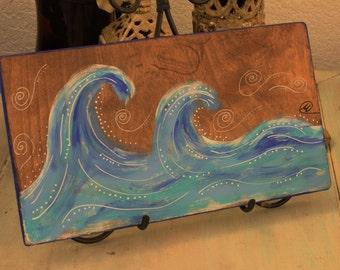 original boho ocean wave art, boho decor, art on wood, beach house decor, original artwork,coastal artwork, ocean artwork, beach artwork