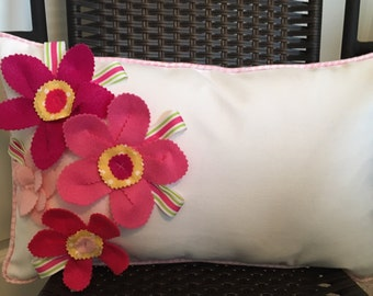 Flower Pillow Cover 12 x 20 inch Pink Flower Pillow Cover Lumbar Pillow Cover Girl Pillow Cover Long Pillow Cover Pink White Pillow Cover