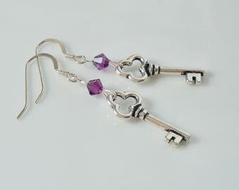 Cute Skeleton Key Drop Earrings with Swarovski Beads