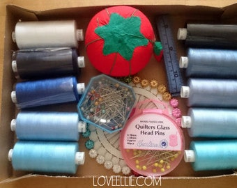 Thread and Pins Gift Set - Blues - Sewing thread, tomato pin cushion, sewing pins, tape measure gift box
