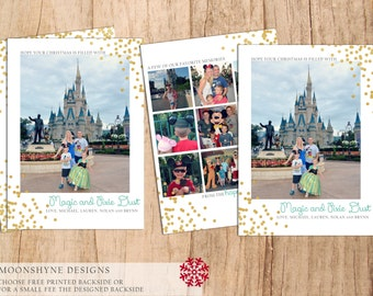 Magic and Pixie Dust Disney Christmas Card . Modern Holiday Card . Glitter Foil Disney . JPEG or PDF . Print Yourself . Free Backside .