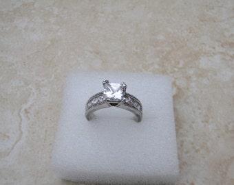 Vintage Sterling Silver Rhinestone Ladies Ring, Engagement, Wedding Jewelry, Size 5 1/2