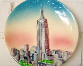 Sale! Was 18.00- Hand-painted New York City Souvenir Hanging Plate, Empire State Building