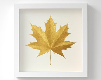Norway Maple leaf – Original Acrylic Painting – Gold Leaf – Hand Painted – 6 Metallic Shades – Wall Art – Birthday Gift – 3 Sizes – Unframed